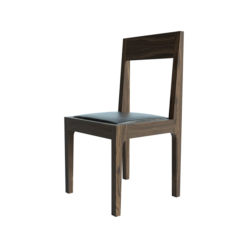 front side view of high back pure chair with walnut finish by facet furniture