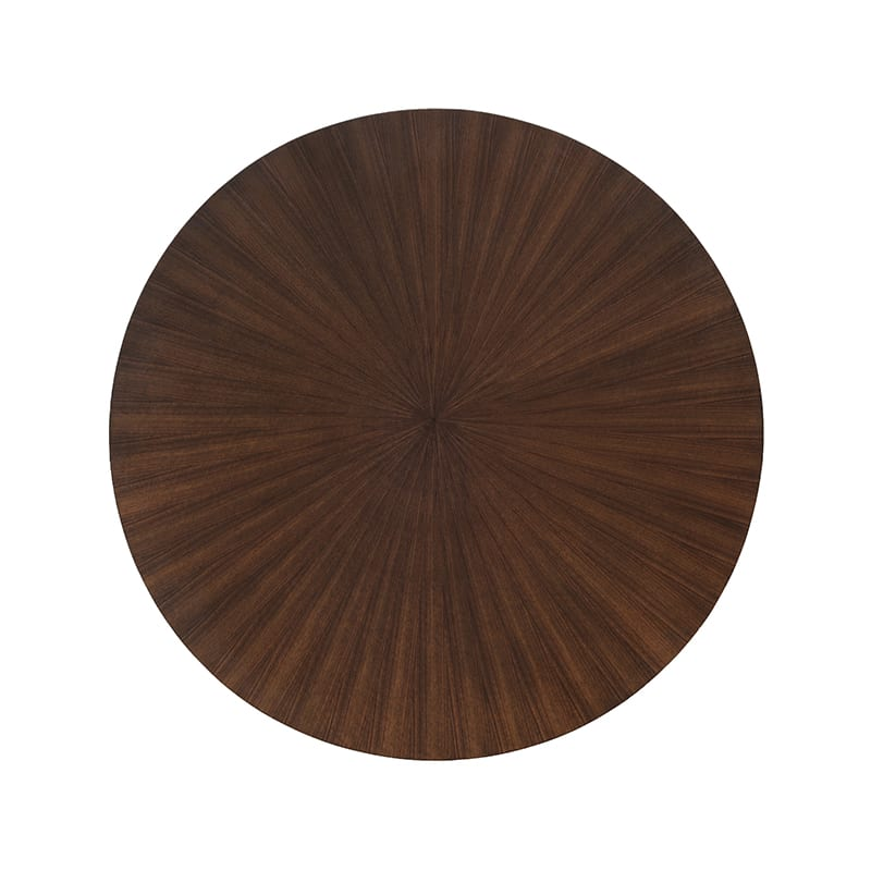 top view of walnut radiate table by facet furniture