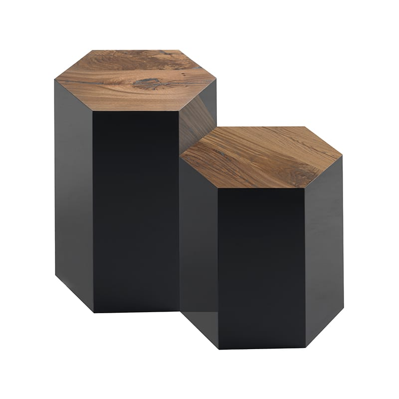 Reclaimed Oak Juxtapo Side Tables In Tall and Medium Height by Facet Furniture