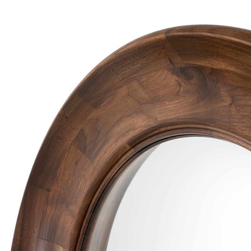 scoop mirror details of walnut wood by facet furniture