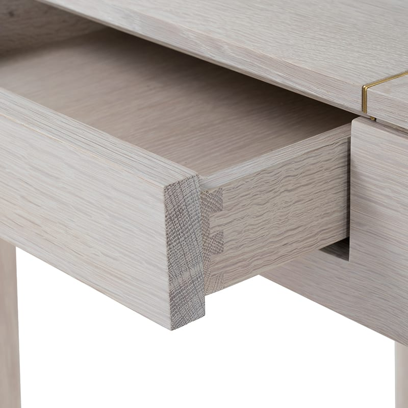 Lindey Vanity drawer dovetail details with brass inlay by facet furniture