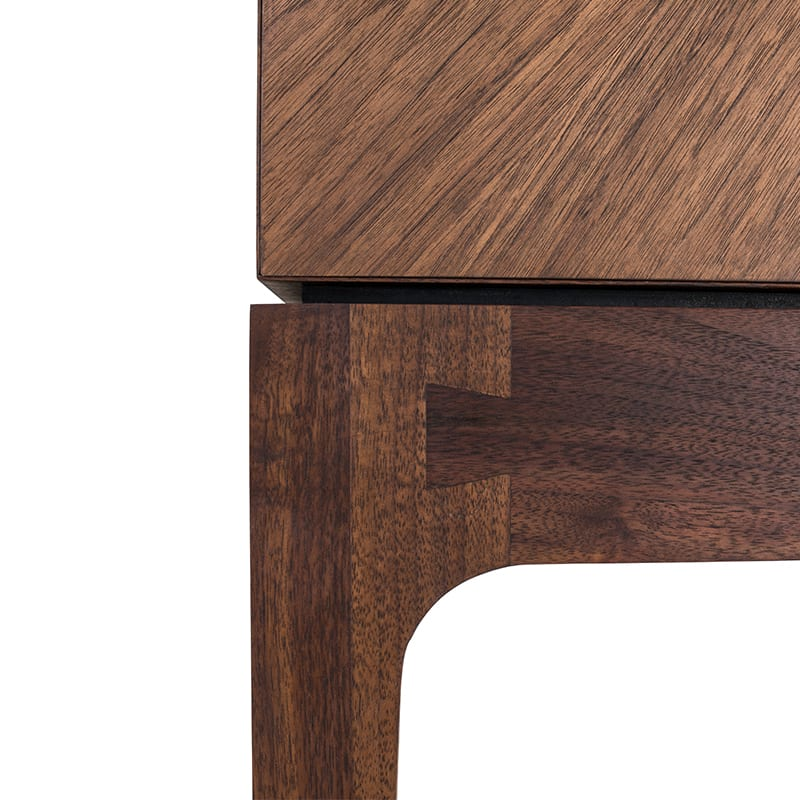 details of fishtail in wood on radiate bar by facet furniture