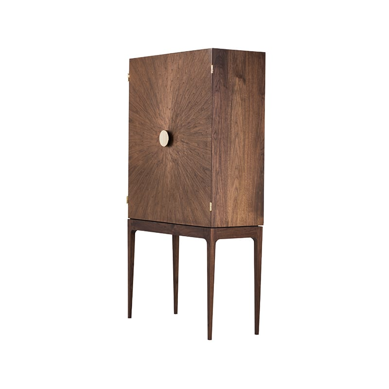 Radiate Bar from front side view in walnut - made by facet furniture