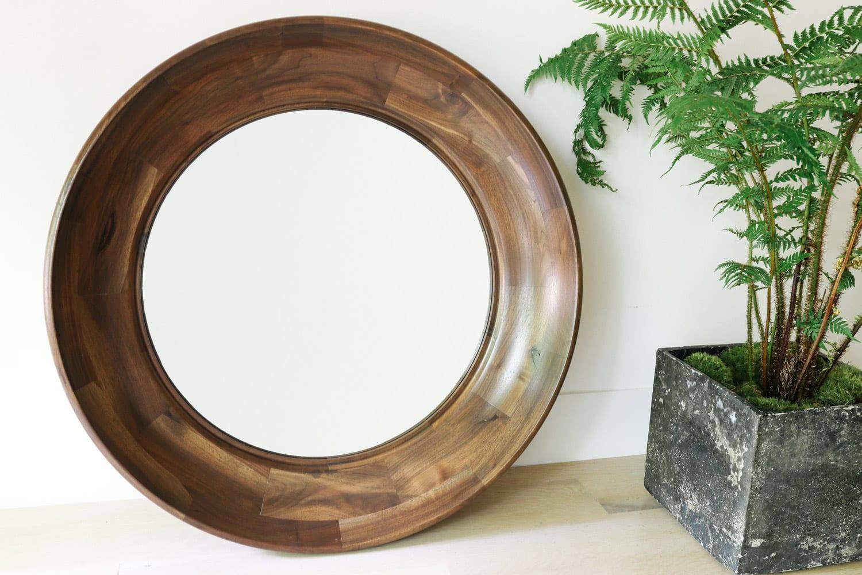 Scoop Mirror in Walnut by Facet Furniture