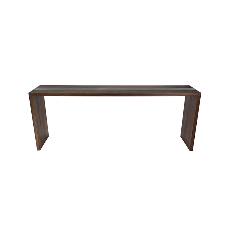 Front View of Flow Console Table with Walnut and Marble