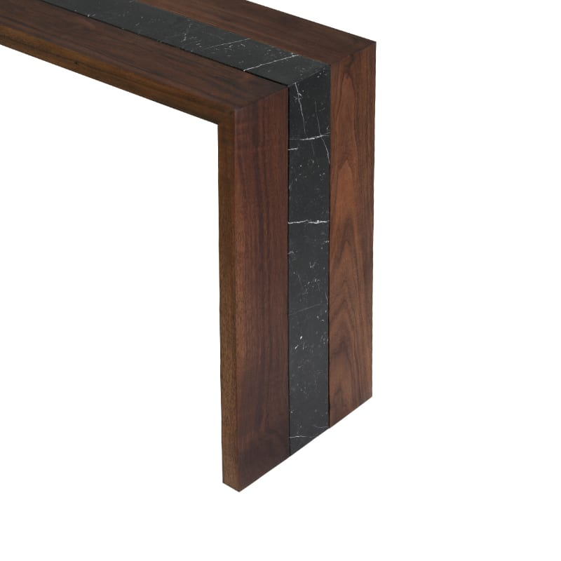 Details of Walnut and Marble Flow Console Table